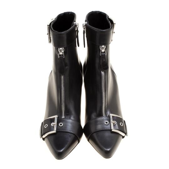 Alexander McQueen Leather Pointed Toe Black Boots Image 2