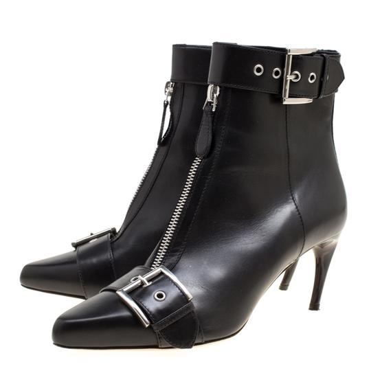Alexander McQueen Leather Pointed Toe Black Boots Image 3