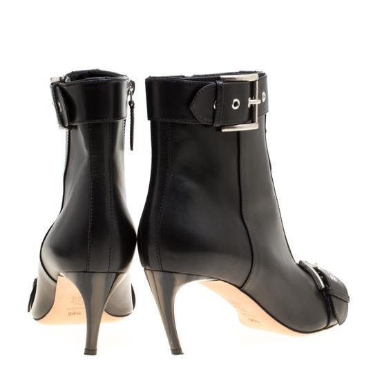 Alexander McQueen Leather Pointed Toe Black Boots Image 4