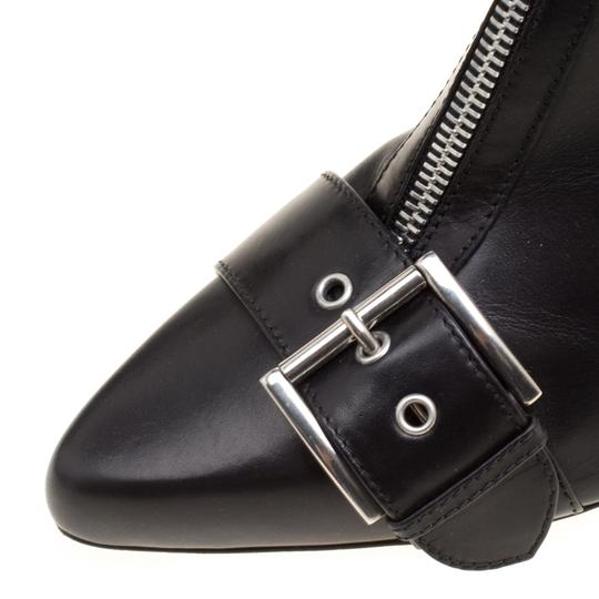 Alexander McQueen Leather Pointed Toe Black Boots Image 6
