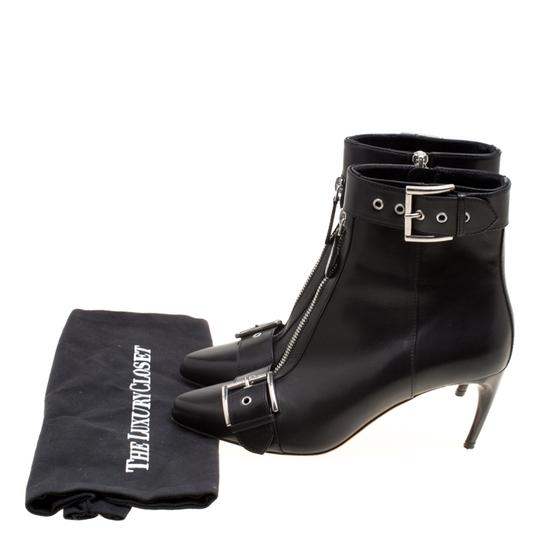 Alexander McQueen Leather Pointed Toe Black Boots Image 7