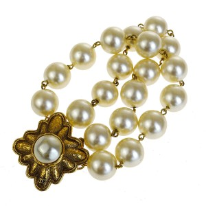 Chanel Gold Cc Imitation Pearl Bangle Gold-tone 26 Bracelet