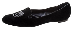Alexander McQueen Velvet Embroidered Black Flats