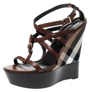 Burberry Strappy Leather Platform Wedge Brown Sandals