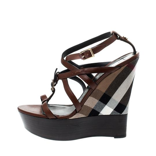 Burberry Strappy Leather Platform Wedge Brown Sandals Image 1