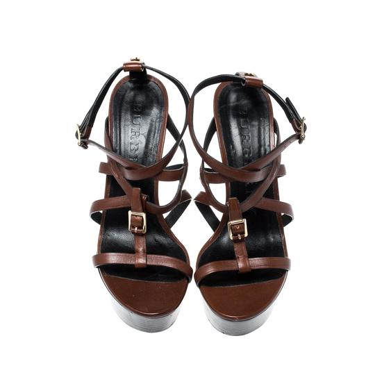 Burberry Strappy Leather Platform Wedge Brown Sandals Image 2