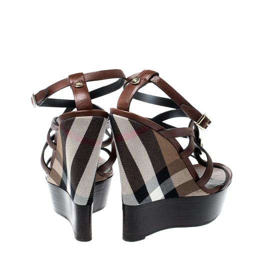 Burberry Strappy Leather Platform Wedge Brown Sandals Image 3