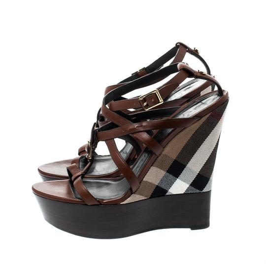 Burberry Strappy Leather Platform Wedge Brown Sandals Image 4