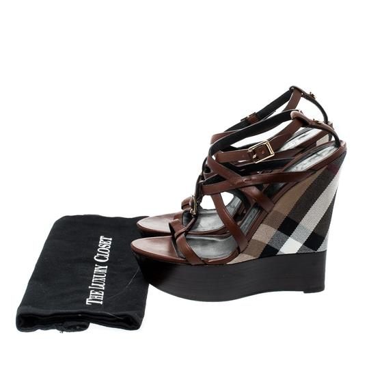 Burberry Strappy Leather Platform Wedge Brown Sandals Image 7