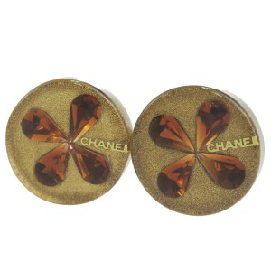 Chanel Gold Brown Button Clip-on Gold-tone France Earrings