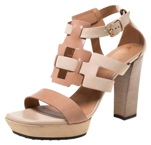 Tod's Leather Strappy Open Toe Beige Sandals