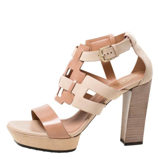 Tod's Leather Strappy Open Toe Beige Sandals Image 1