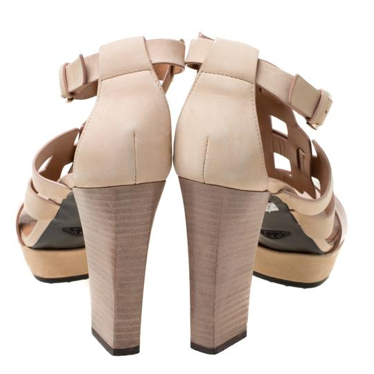 Tod's Leather Strappy Open Toe Beige Sandals Image 3