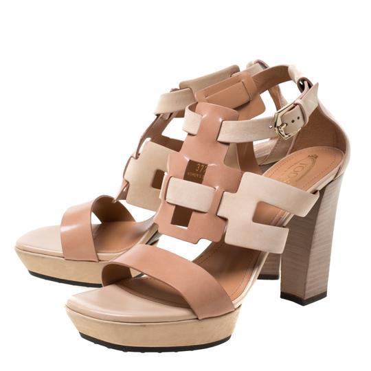 Tod's Leather Strappy Open Toe Beige Sandals Image 4