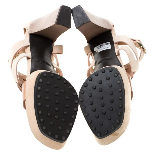 Tod's Leather Strappy Open Toe Beige Sandals Image 6