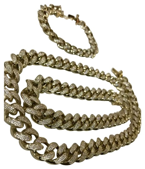 Preload https://img-static.tradesy.com/item/25957482/gold-14k-iced-out-miami-cuban-link-chain-and-bracelet-set-necklace-0-2-540-540.jpg
