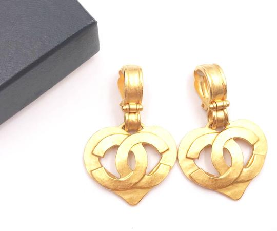 Chanel Chanel Vintage Gold Plated Heart CC Dangle Clip on Earrings Image 1