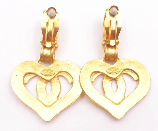 Chanel Chanel Vintage Gold Plated Heart CC Dangle Clip on Earrings Image 2