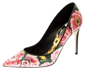 Dolce&Gabbana Floral Leather Pointed Toe Multicolor Pumps