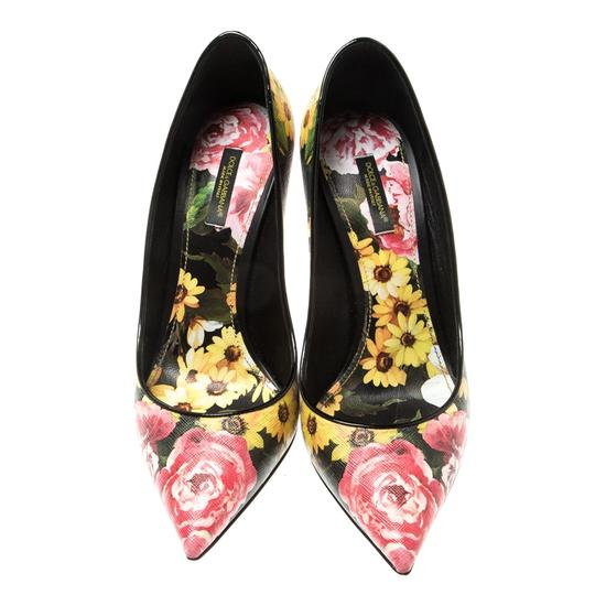 Dolce&Gabbana Floral Leather Pointed Toe Multicolor Pumps Image 2