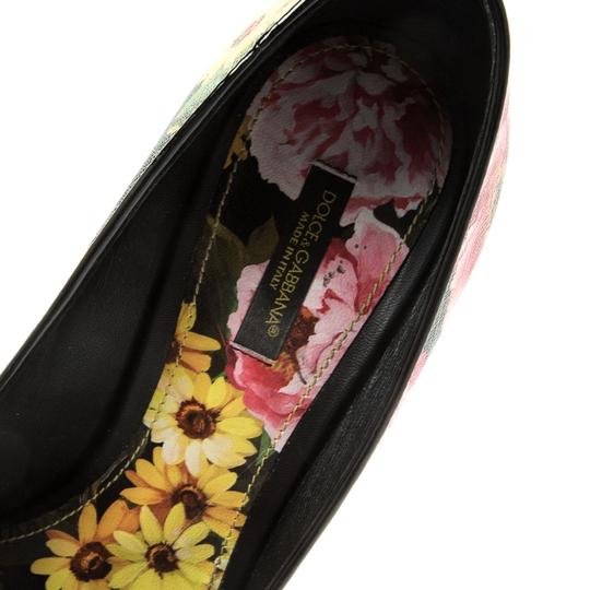 Dolce&Gabbana Floral Leather Pointed Toe Multicolor Pumps Image 5