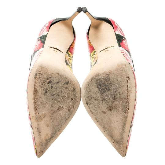 Dolce&Gabbana Floral Leather Pointed Toe Multicolor Pumps Image 6