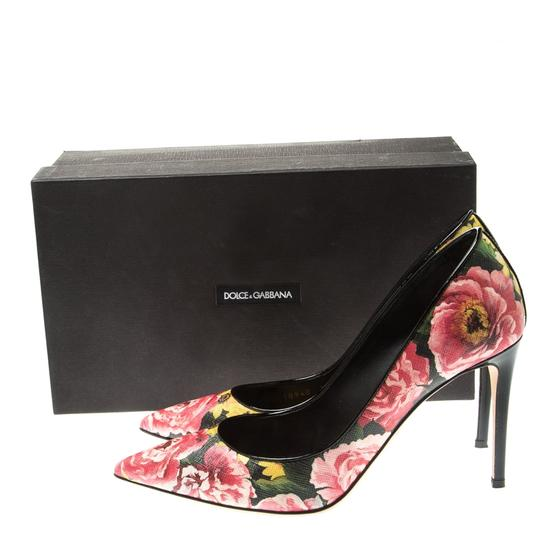 Dolce&Gabbana Floral Leather Pointed Toe Multicolor Pumps Image 7