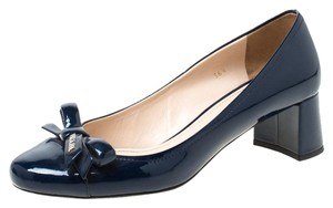 Prada Patent Leather Detail Navy Blue Pumps