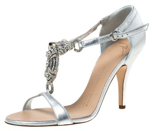 Giuseppe Zanotti Leather Crystal Embellished Open Toe Silver Sandals