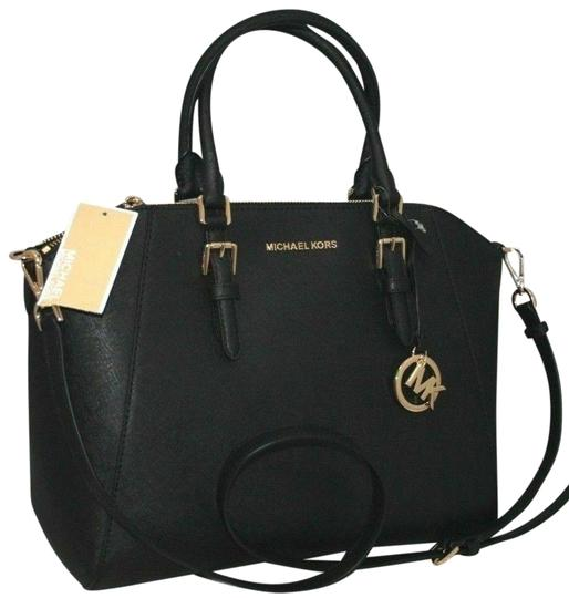 Preload https://img-static.tradesy.com/item/25957519/michael-kors-ciara-black-leather-satchel-0-1-540-540.jpg