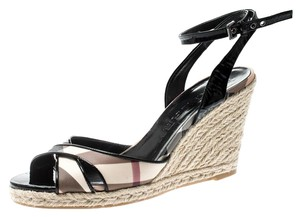 Burberry Patent Leather Ankle Strap Espadrille Black Sandals