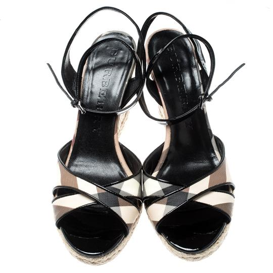 Burberry Patent Leather Ankle Strap Espadrille Black Sandals Image 2