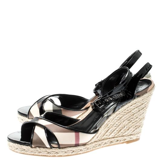 Burberry Patent Leather Ankle Strap Espadrille Black Sandals Image 4