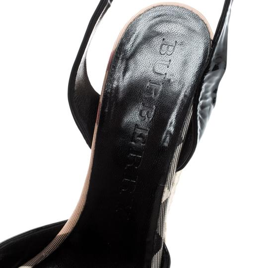 Burberry Patent Leather Ankle Strap Espadrille Black Sandals Image 5