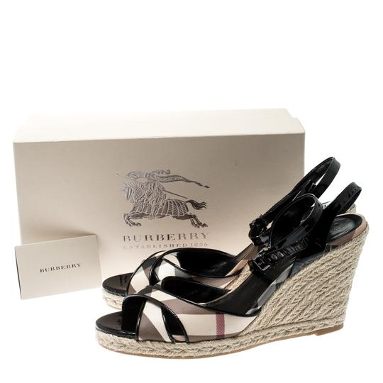 Burberry Patent Leather Ankle Strap Espadrille Black Sandals Image 7