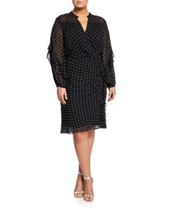 Rachel Roy Polka Dot Sheath Holiday Silhouette Plus-size Dress