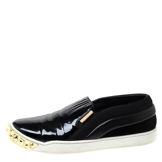 Louis Vuitton Patent Leather Suede Studded Black Flats Image 1