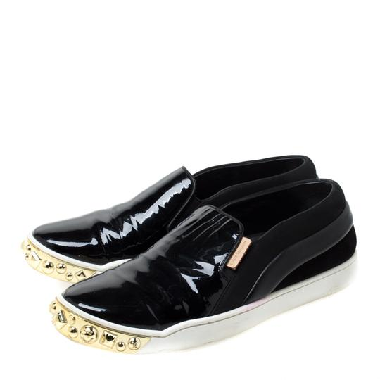 Louis Vuitton Patent Leather Suede Studded Black Flats Image 4