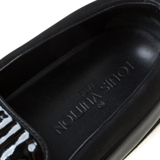 Louis Vuitton Patent Leather Suede Studded Black Flats Image 5