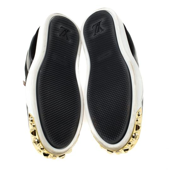 Louis Vuitton Patent Leather Suede Studded Black Flats Image 6