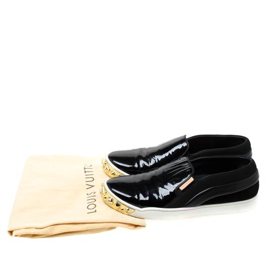 Louis Vuitton Patent Leather Suede Studded Black Flats Image 7