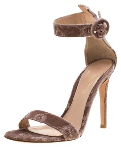Gianvito Rossi Floral Embroidered Velvet Ankle Strap Pink Sandals