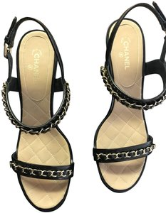 Chanel Leather Chain Strappy black Sandals