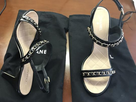 Chanel Leather Chain Strappy black Sandals Image 1