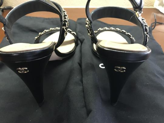 Chanel Leather Chain Strappy black Sandals Image 3