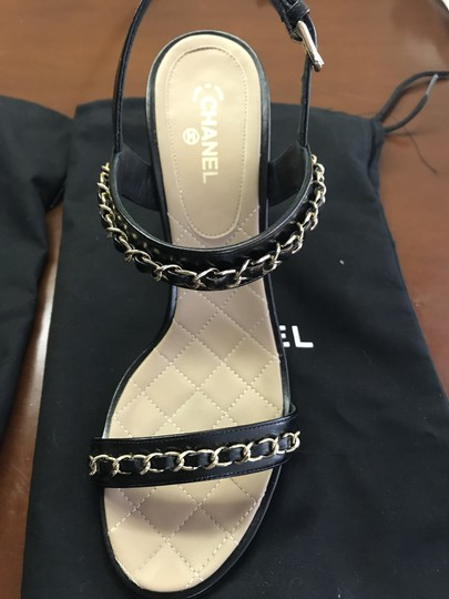 Chanel Leather Chain Strappy black Sandals Image 4