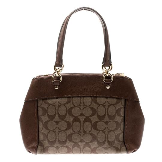Coach Signature Canvas Leather Satchel in Brown Image 1
