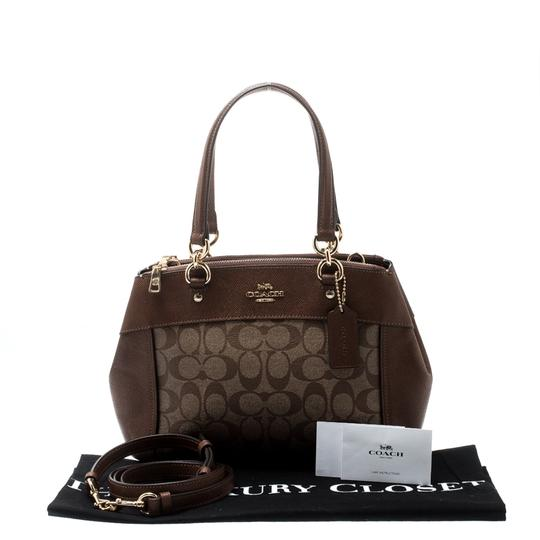 Coach Signature Canvas Leather Satchel in Brown Image 10
