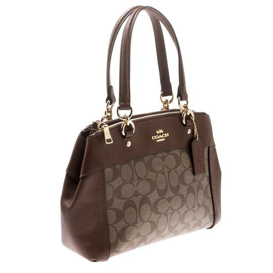 Coach Signature Canvas Leather Satchel in Brown Image 4