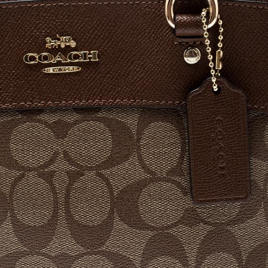 Coach Signature Canvas Leather Satchel in Brown Image 7